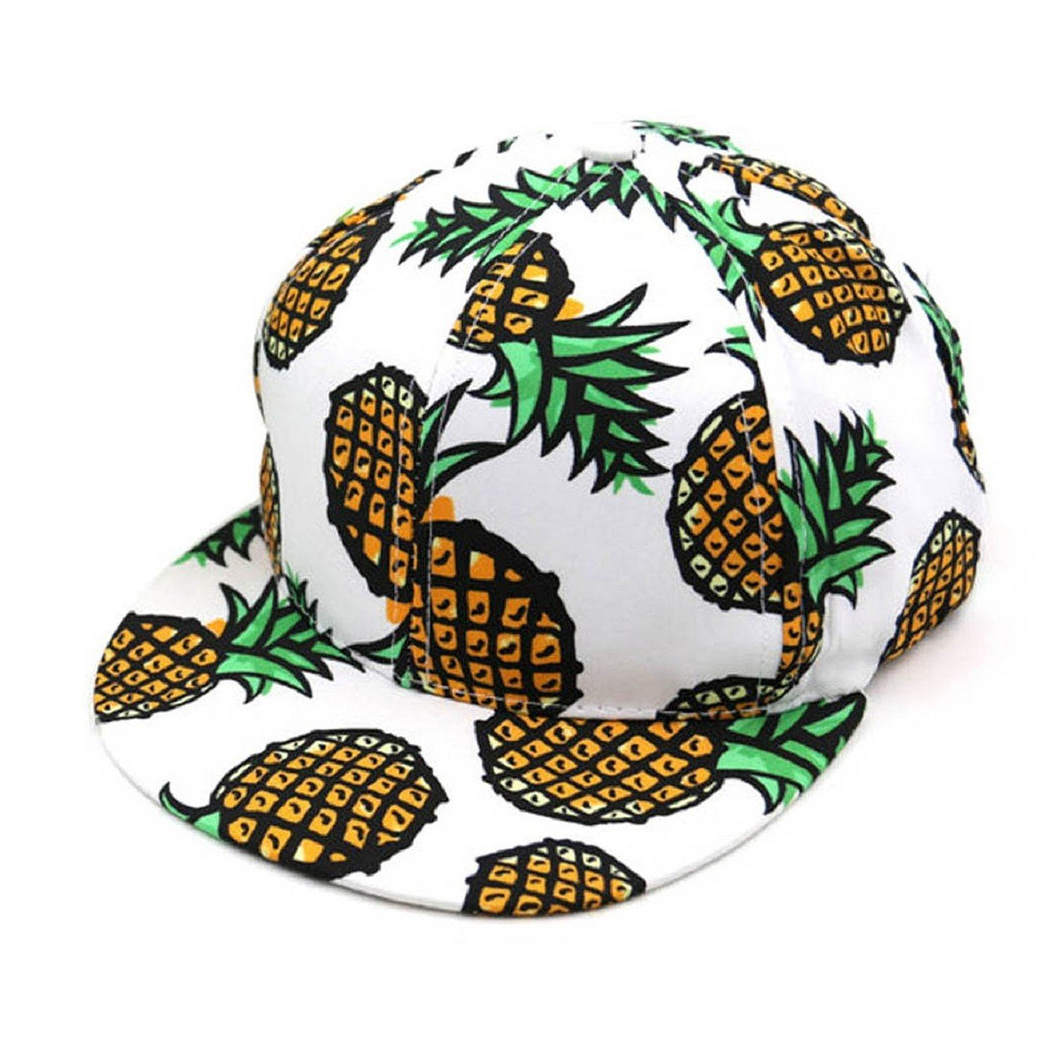 Amazon.com  Adult Pineapple Print Snapback Hat Cap Summer Beach  Clothing 7e414681e1c