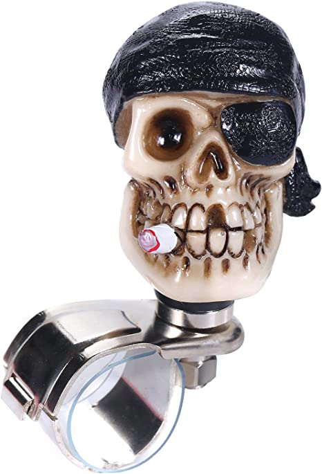 One-Eyed Pirate Style Car Power Grip Knobs Fit Most Manual Automatic Vehicles Thruifo Skull Car Handle Spinner Steering Wheel Suicide Knob Red
