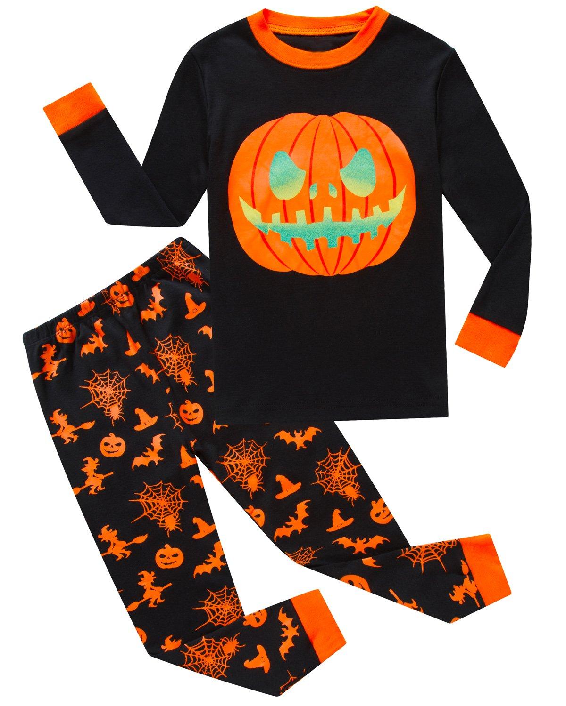 IF Pajamas Halloween Pumpkin Little Boys Sets 100% Cotton Clothes Toddler Kids PJS Size 3T