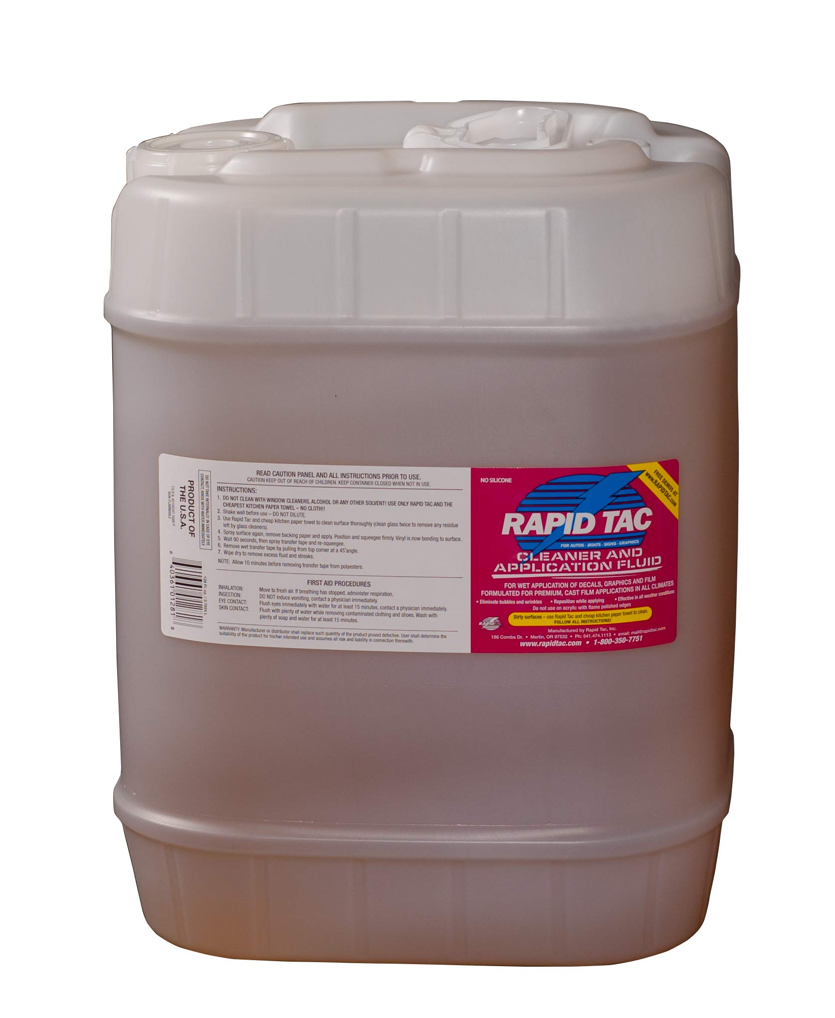 Rapid Tac Decal Application Fluid 5 Gallon Jug (640 Ounces) for Vinyl Wraps Autos Boats Signs Graphics Stickers