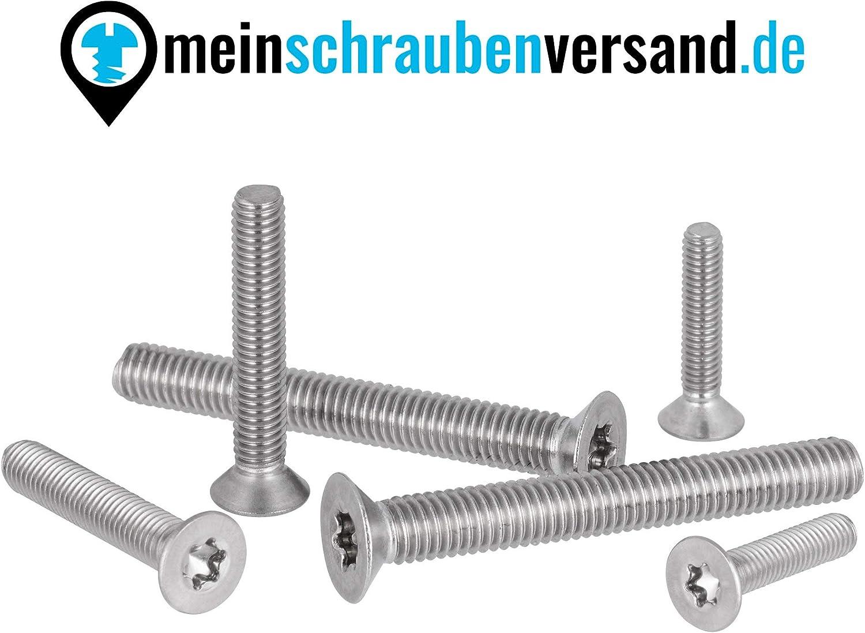 Senkkopfschrauben Torx M4x20 Innensechsrund Vollgewinde ISO 14581 DIN 965 TX Senkschrauben Edelstahl M4 x 20 mm 25 St/ück