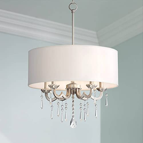 Georgiana Brushed Nickel Pendant Chandelier 20 1 4 Wide Modern Clear Crystal Off White Drum Shade 5-Light Fixture Dining Room House Island Entryway Bedroom Living Room – Possini Euro Design