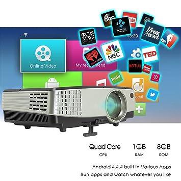 Mini proyector WiFi HD Android 2600 Lumens brillo cine en casa ...