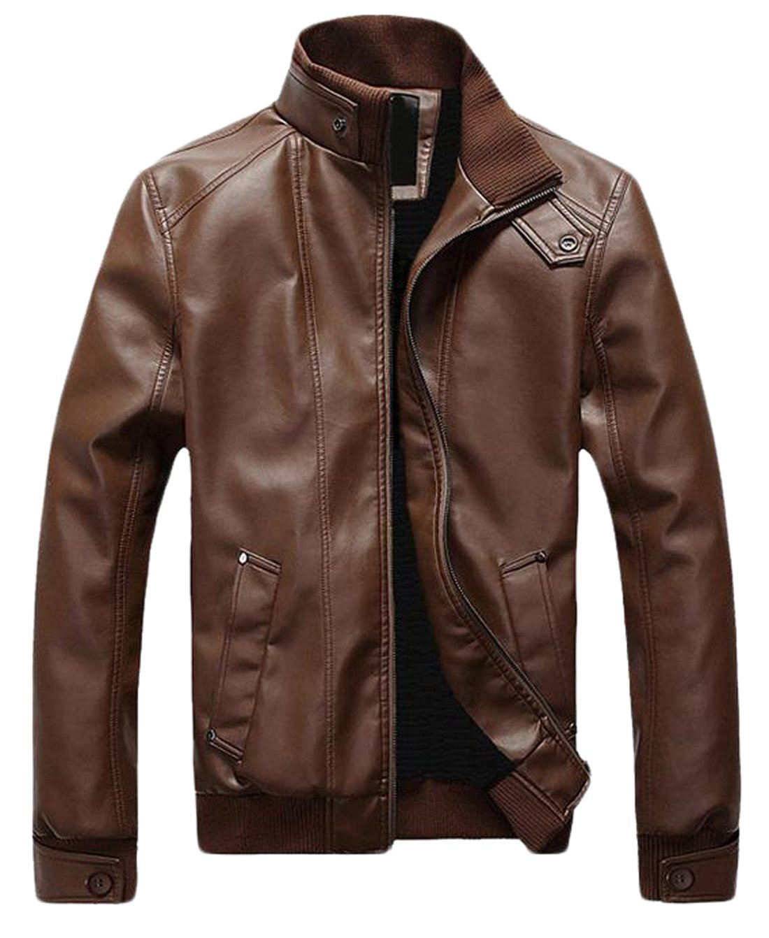 Men's Vintage Stand Collar Thick Leather Jackets Brown L