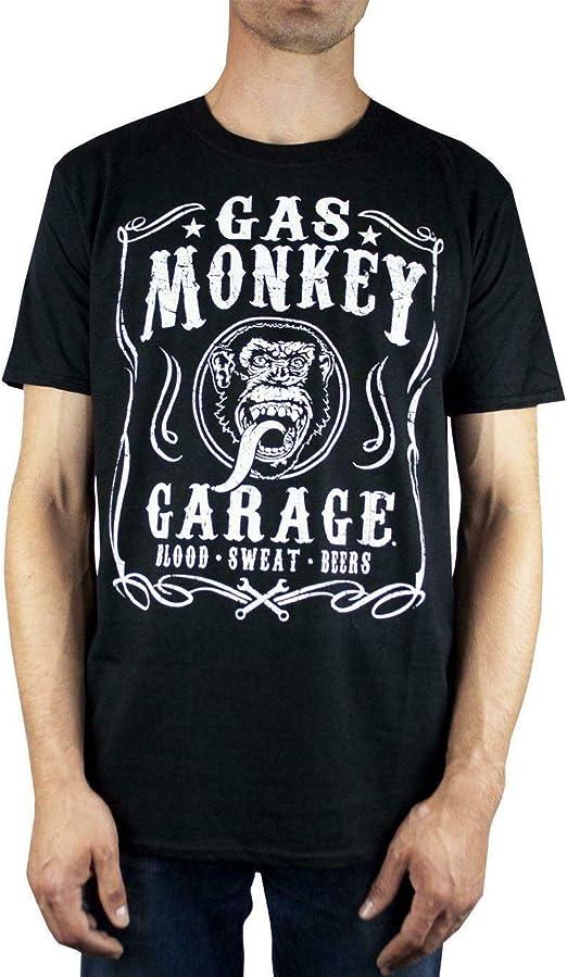 Gas Monkey Garage Herren Offizielle Blut Schwitzen Bier T Shirt Schwarz Bekleidung