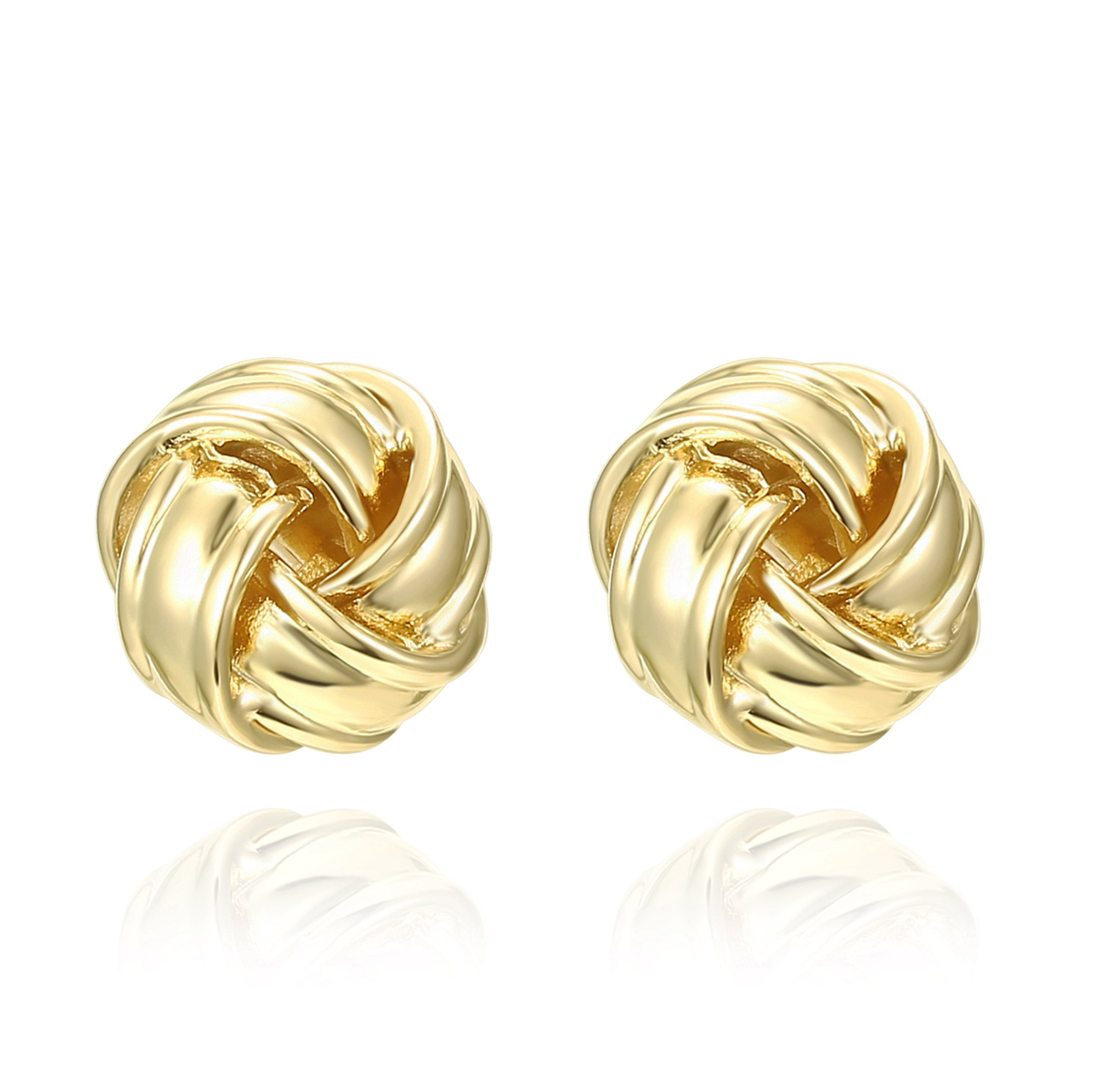 PAVOI 14K Yellow Gold Plated Love Knot Stud Earrings