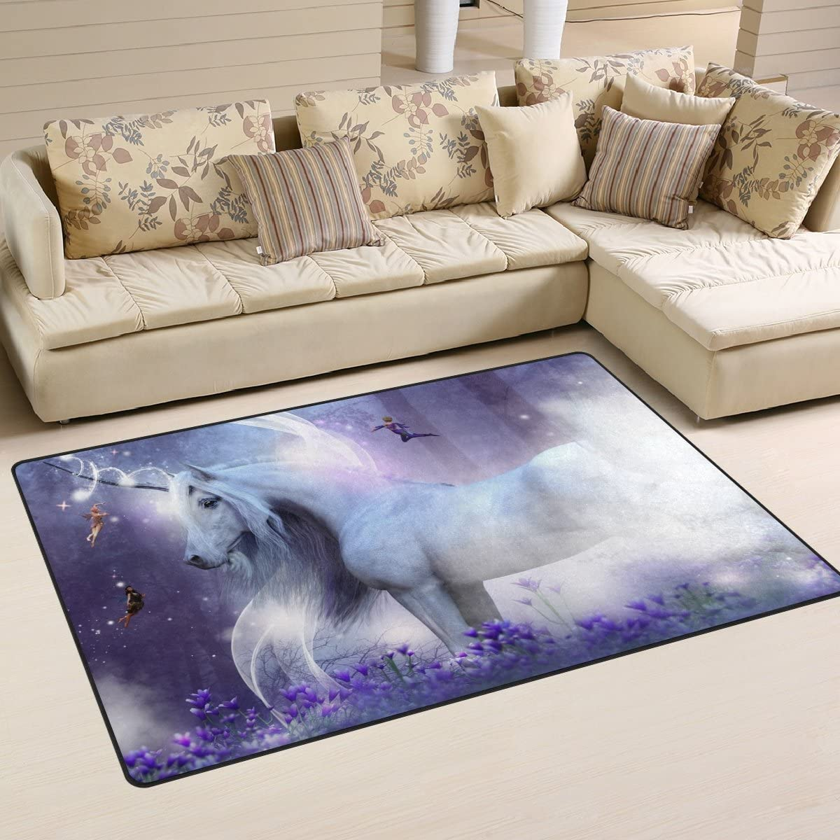 WOZO Magic Unicorn Forest Purple Area Rug Rugs Non-Slip Floor Mat Doormats for Living Room Bedroom 60 x 39 inches