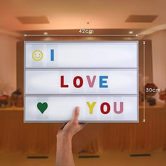 Amzdeal - Caja luminosa cinematográfica con 96 letras y símbolos flexibles - Caja led con mensaje para decoración de pared en formato A3 (42 x 30 x 5,3 cm): Amazon.es: Iluminación