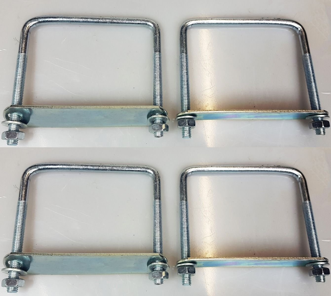 4 x square Brackets u bolts for Boat trailer 120x120x10mm with Nuts & Plate UB3 UBS-120C CSS