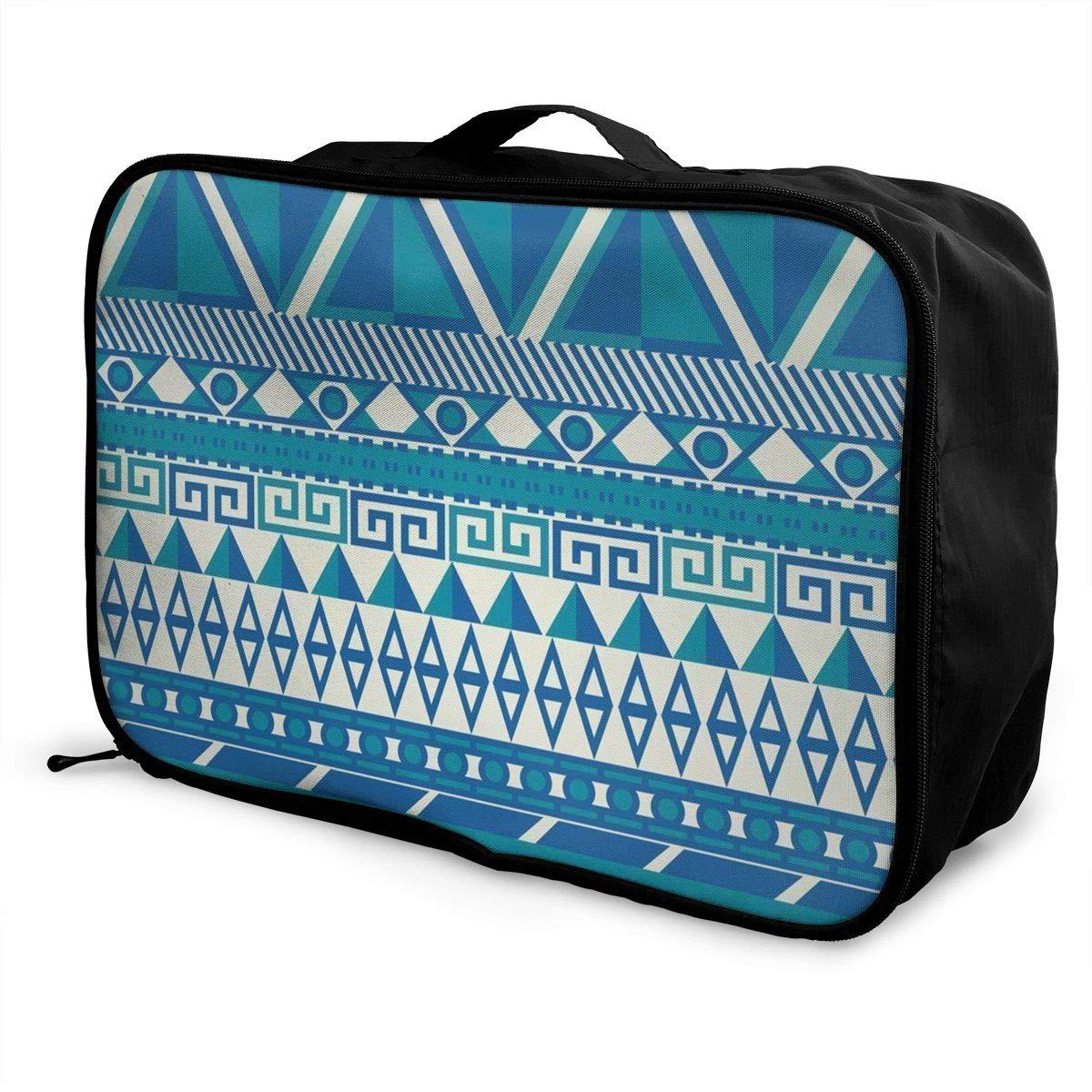 ADGAI Blue Geometric Pattern of Graphics Canvas Travel Weekender Bag,Fashion Custom Lightweight Large Capacity Portable Luggage Bag,Suitcase Trolley Bag