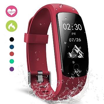 Montre Connectée, moreFit Bluetooth Bracelet Montre Connectée Cardiofrequencemetre Poignet Fitness Tracker Pedomètre Ip67 étanche compteur