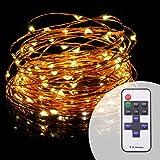 Catena Luminosa, Solla Stringa Luci LED Natalizie ( 100 LED, Livello di Luminosità 100, Filo di Rame da 10 metri, Impermeabile IP65 ) per Uso Interno ed Esterno per Decorazioni Festive Bianco caldo