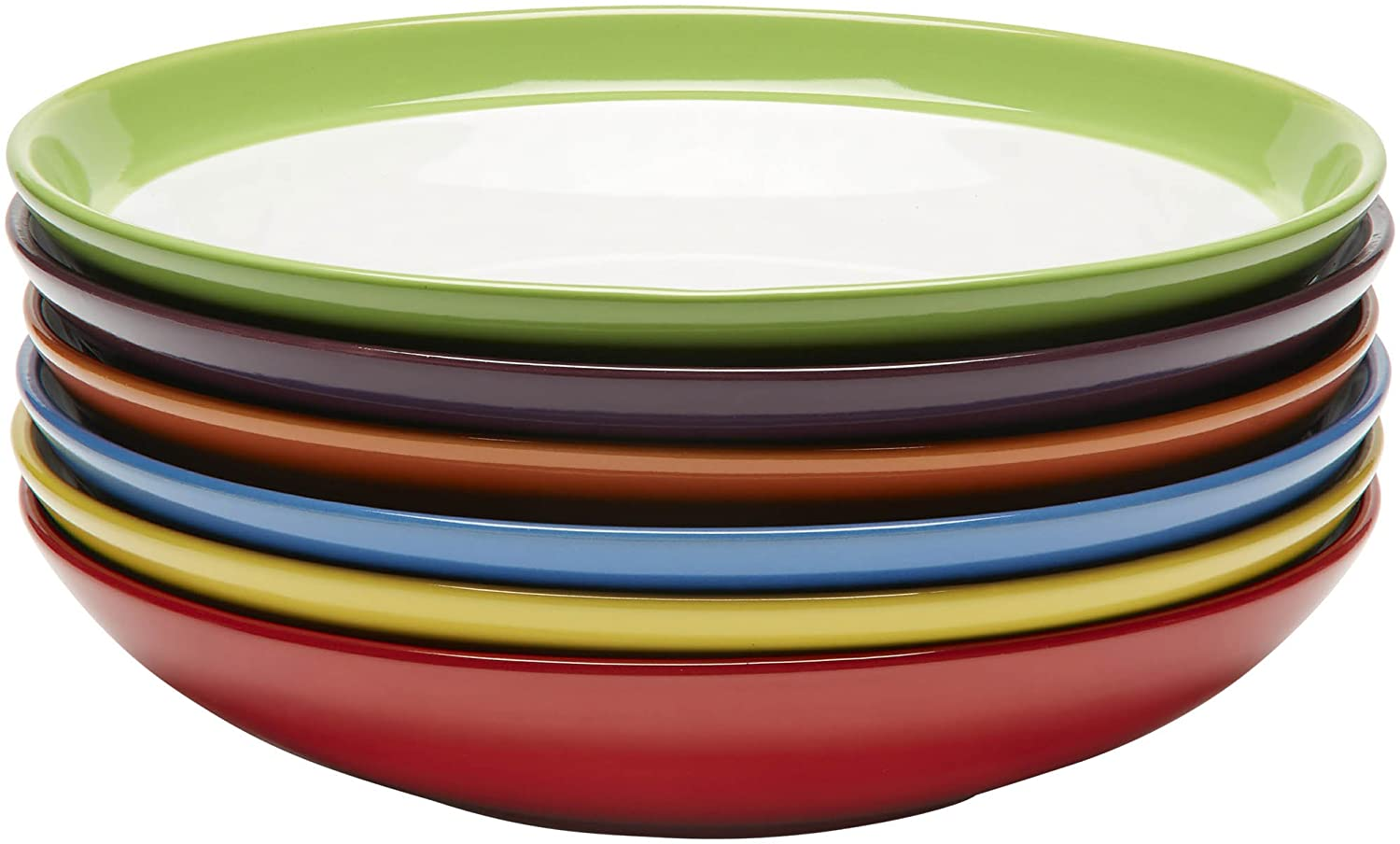 Pasta /& Salad Plate Ceramic Plate Set of 6 Colorful Meal Stoneware Plates Home