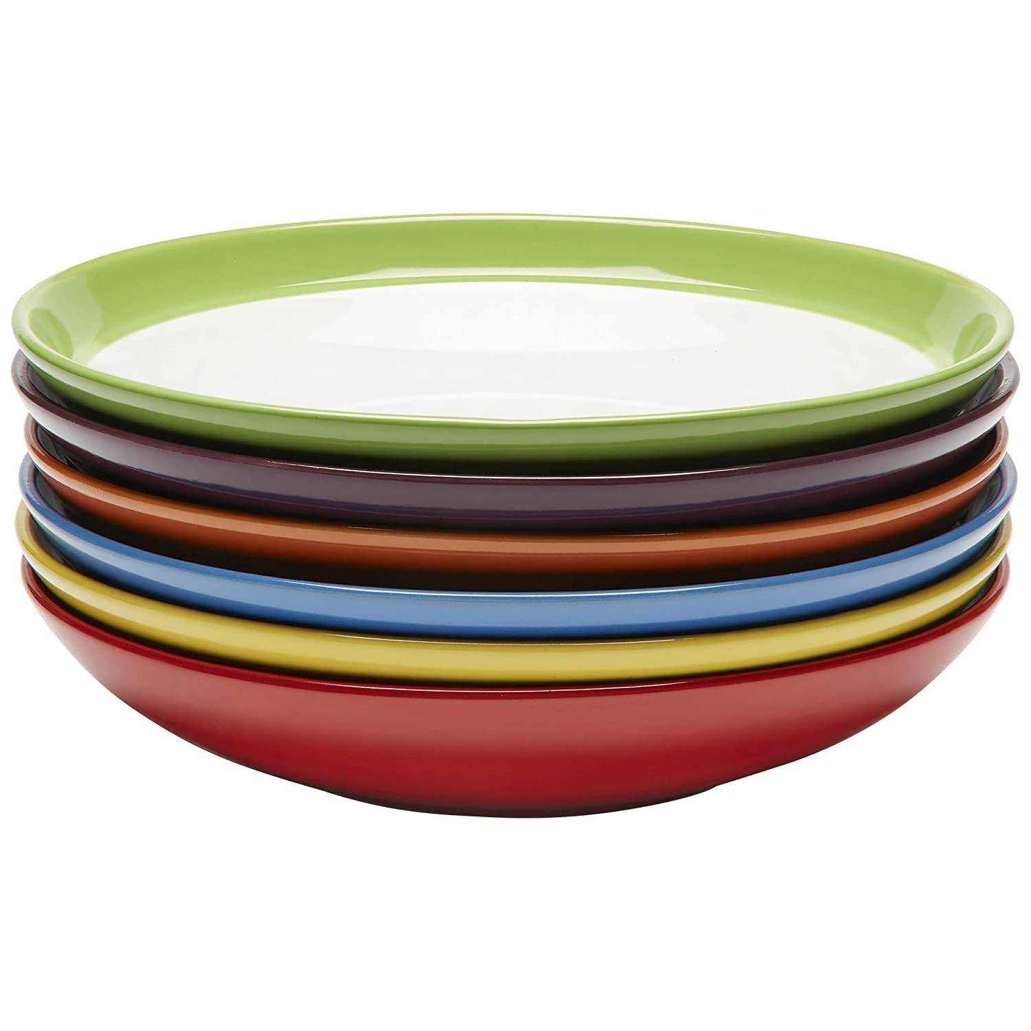 Premium Ceramic Set of 6, Colorful Meal Stoneware (Pasta and Salad Bowls) Amethya 06-00038-01