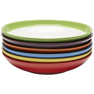 Premium Ceramic Set of 6, Colorful Meal Stoneware (Pasta and Salad Bowls)