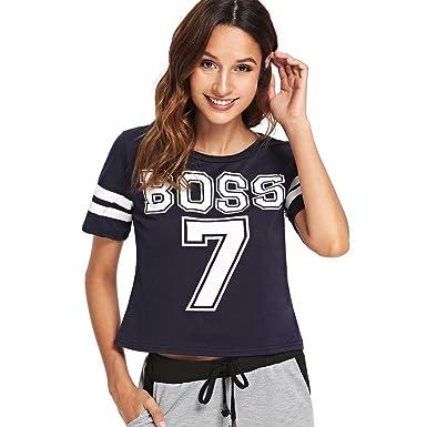 6bb8a2ffd6c882 Amazon.com  SweatyRocks Women s Summer Crop Tops Football Tee Letter Print  Raglan Short Sleeve T Shirt  Clothing