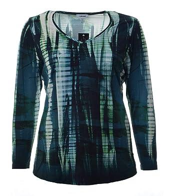 new style 9c1fc a76db KjBrand Damen Langarm Shirt Grün Blau mit V-Ausschnitt große ...