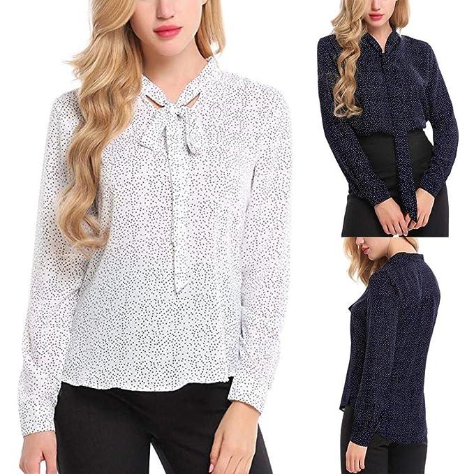 QinMM Camisa Estampada Lunares Mujer con Corbata, Camisetas Manga ...