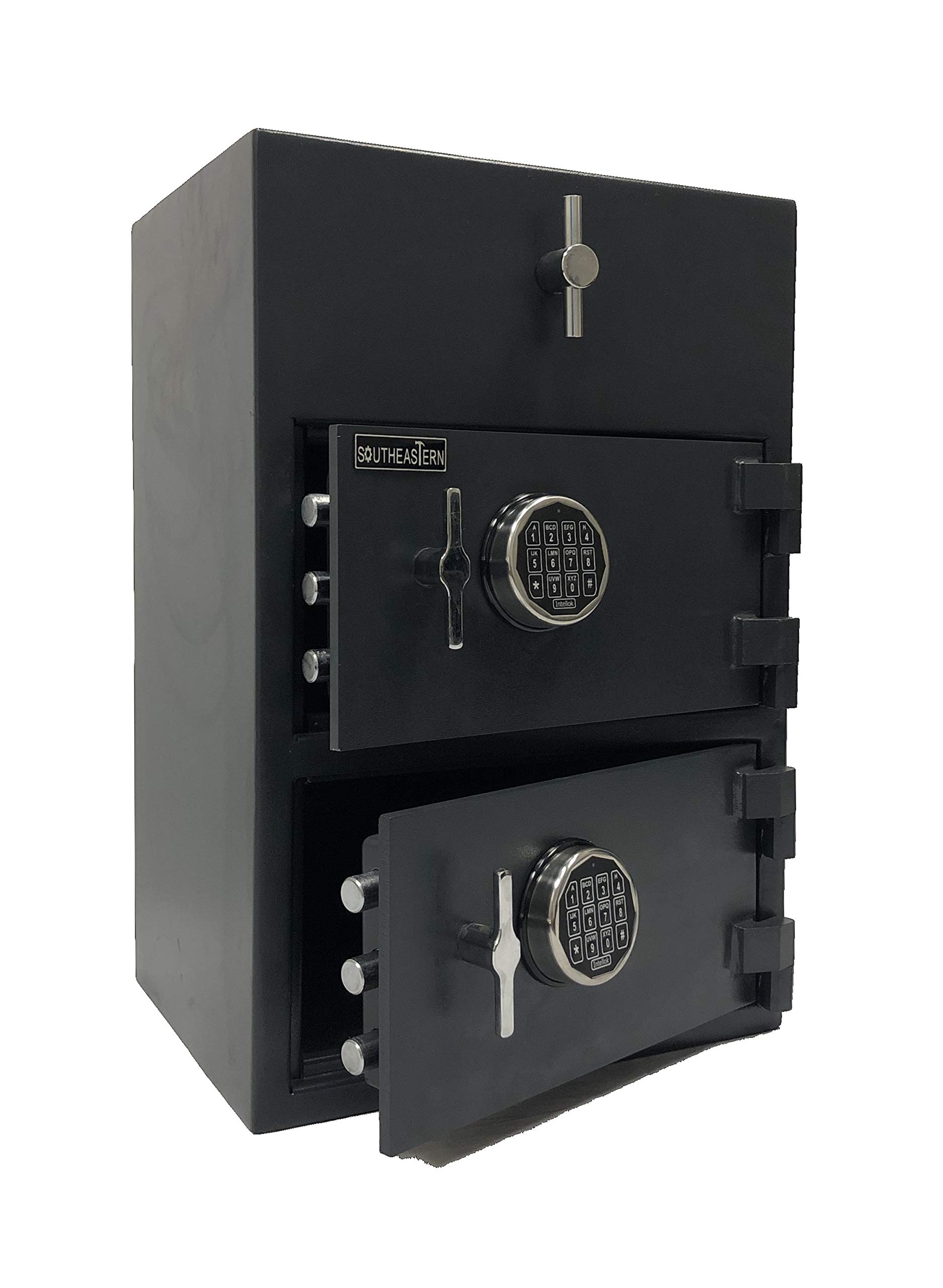 SOUTHEASTERN Double Door Top Loading Drop Depository Safe with Quick Electronic Combination Lock by Southeastern