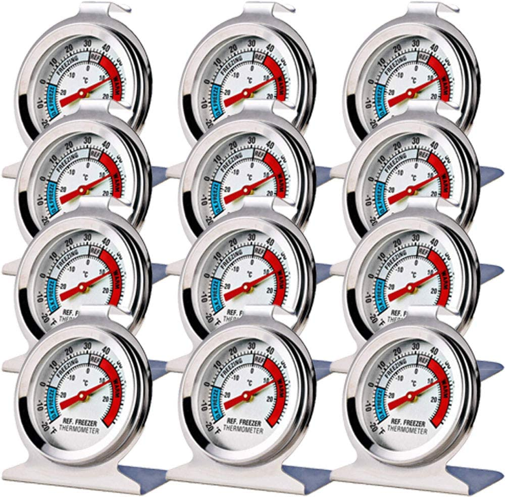 12 Pack Refrigerator Freezer Thermometer Large Dial Thermometer
