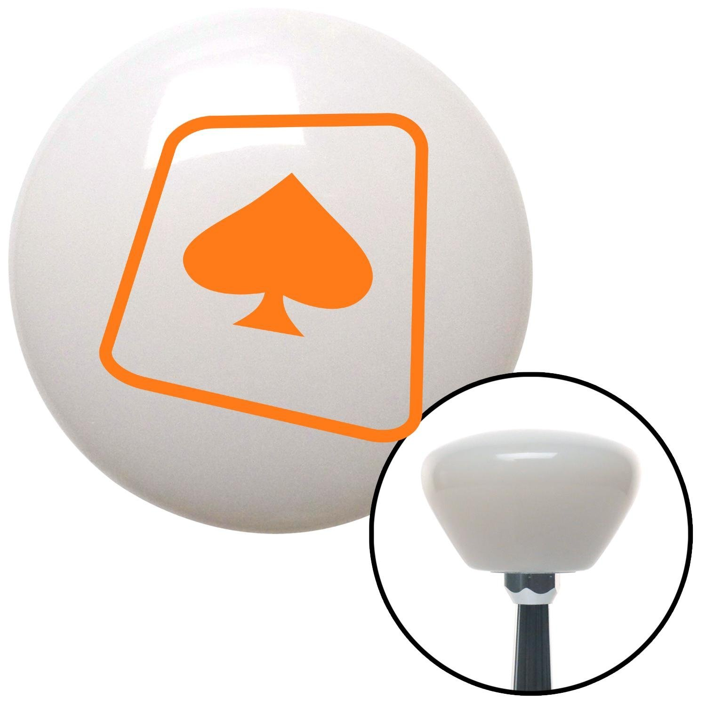 Orange Spade on a Card American Shifter 152217 White Retro Shift Knob with M16 x 1.5 Insert