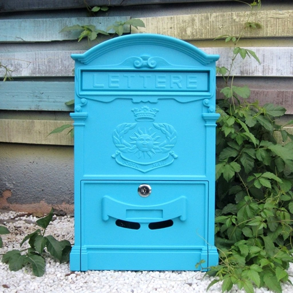 CJH ヨーロッパの郵便箱ヴィラの郵便箱屋外創造的な鉄のロックの壁レトロポスト防水大きいニューススタンド (Color : Light blue)   B07CXZJWWZ