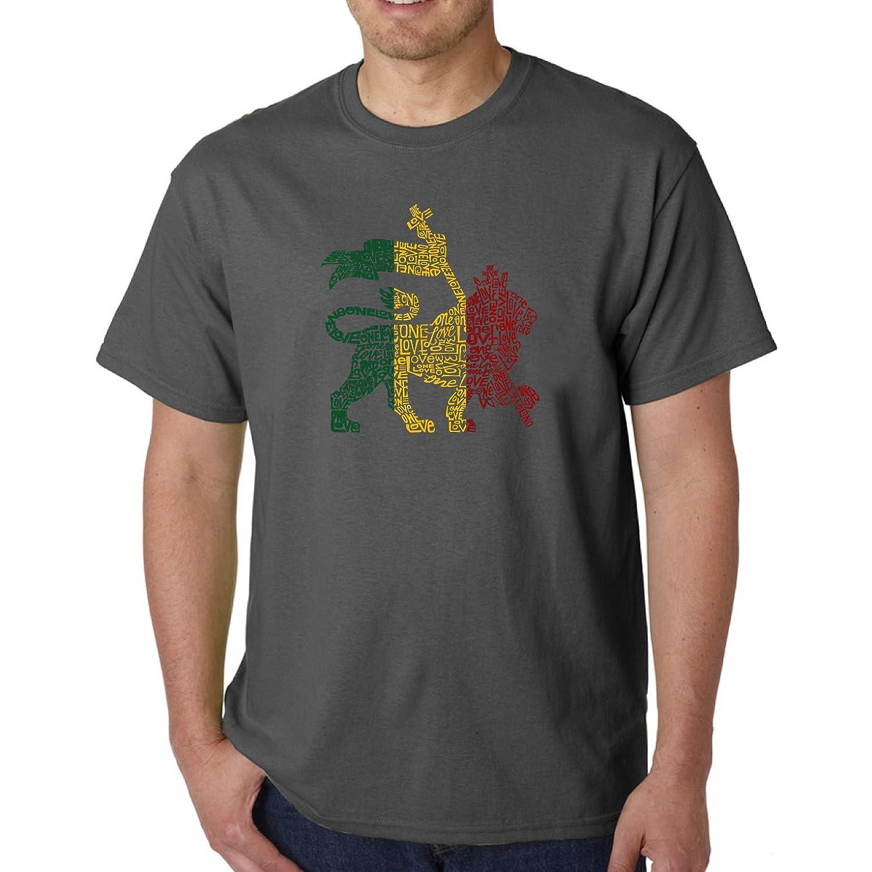 2c097e42a NC Mens Grey Rasta Lion T-Shirt X-Large Sized, Pop Art Themed Graphic Print Tee  Shirt Short Sleeve Jamaica One Love Bob Marley Animal Culture Religion  Multi ...