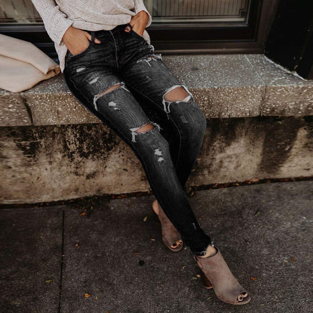 BaZhaHei Jeans a Vita Alta Donna,Moda Elasticizzati Skinny Pantaloni Foro Strappato,Donna Stretti Casuale Pantaloni Denim,Jeggings da Donna con Pulsante Zip Tasca S-3XL