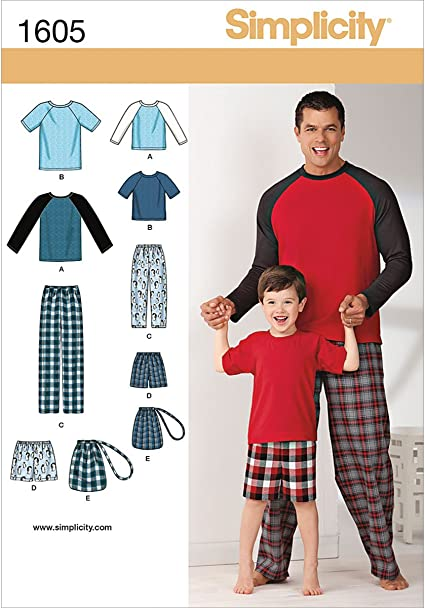 Simplicity 1605 Boys And Mens Pajama Sewing Patterns Mens Sizes S-XL and Youth Sizes S-L