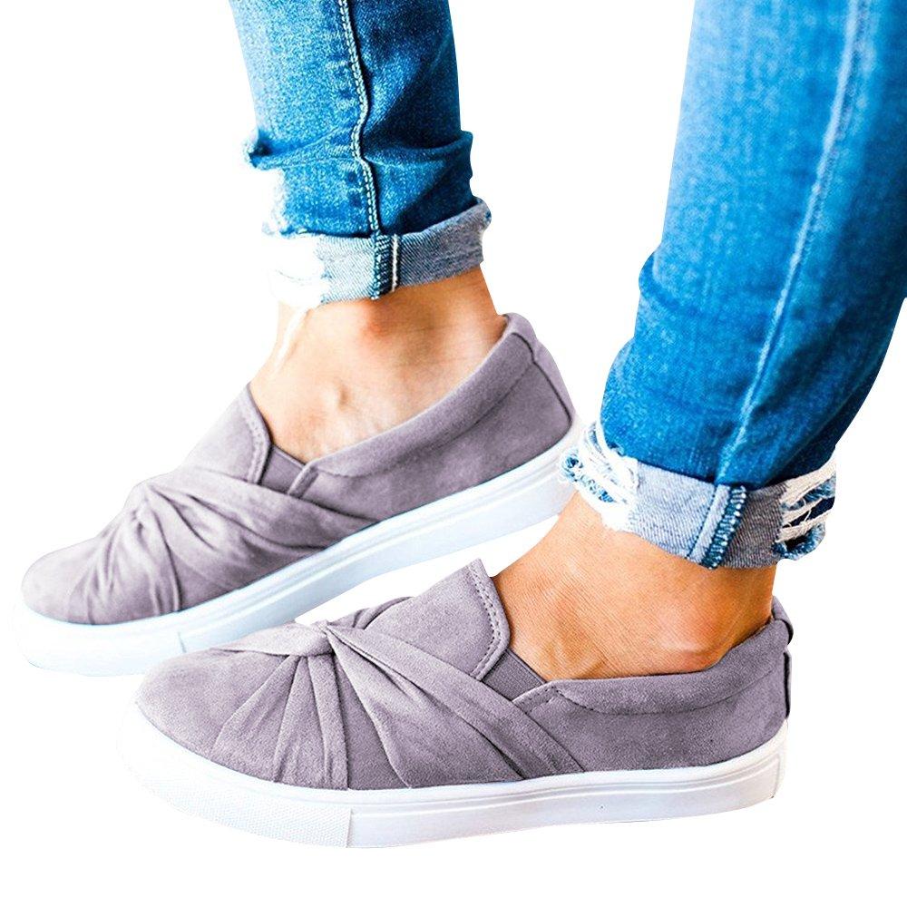 Blivener Women's Loafers Slip On Flatform Top Ruched Knot Fashion Sneaker 03Grey US8.5 by Blivener (Image #2)