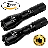 YIFENG XML-T6 1000 Lumens Super Bright CREE LED Tactical Flashlight with 5 Light Modes and Zoom Function, 2 pack