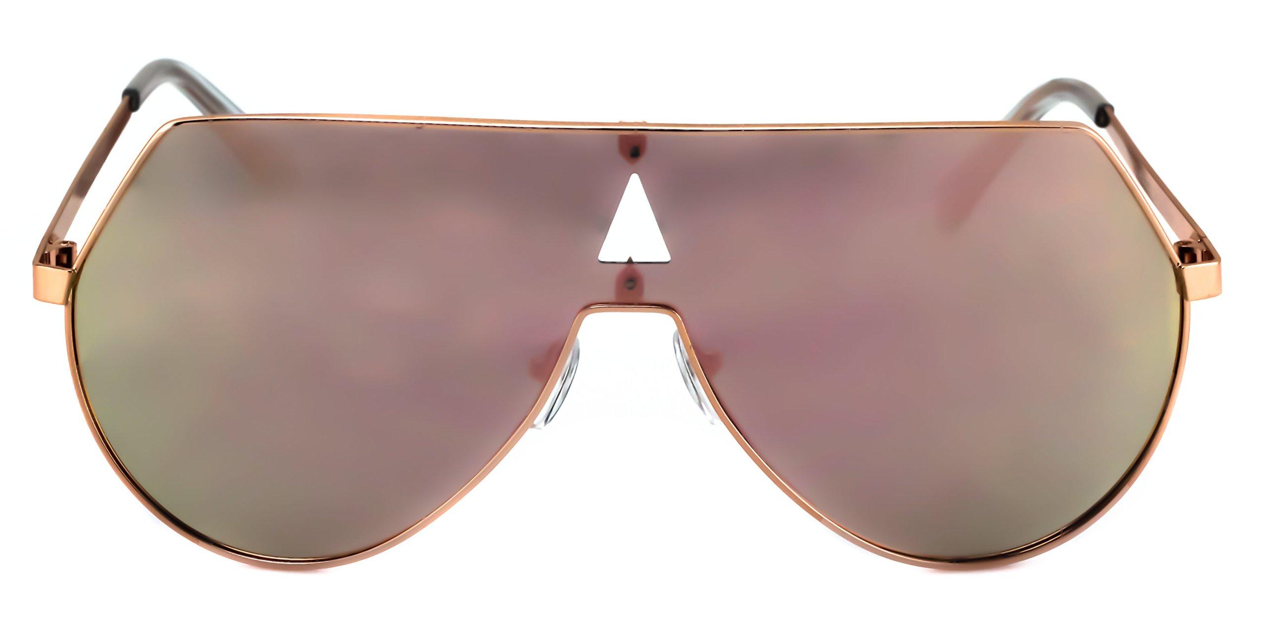 Elite Oversize Unisex Flat Top Aviator Retro Shield Mirrored Lens Rimless Sunglasses (Rose Pink Mirror, 5.8) by EliteGlasses (Image #5)