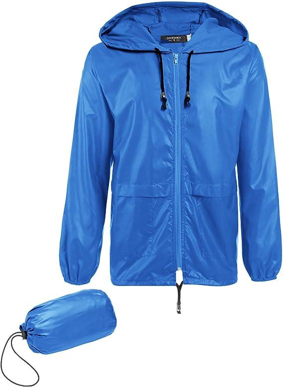 COOFANDY Mens Waterproof Hooded Rain Jacket Lightweight Windproof Active Outdoor Long Raincoat