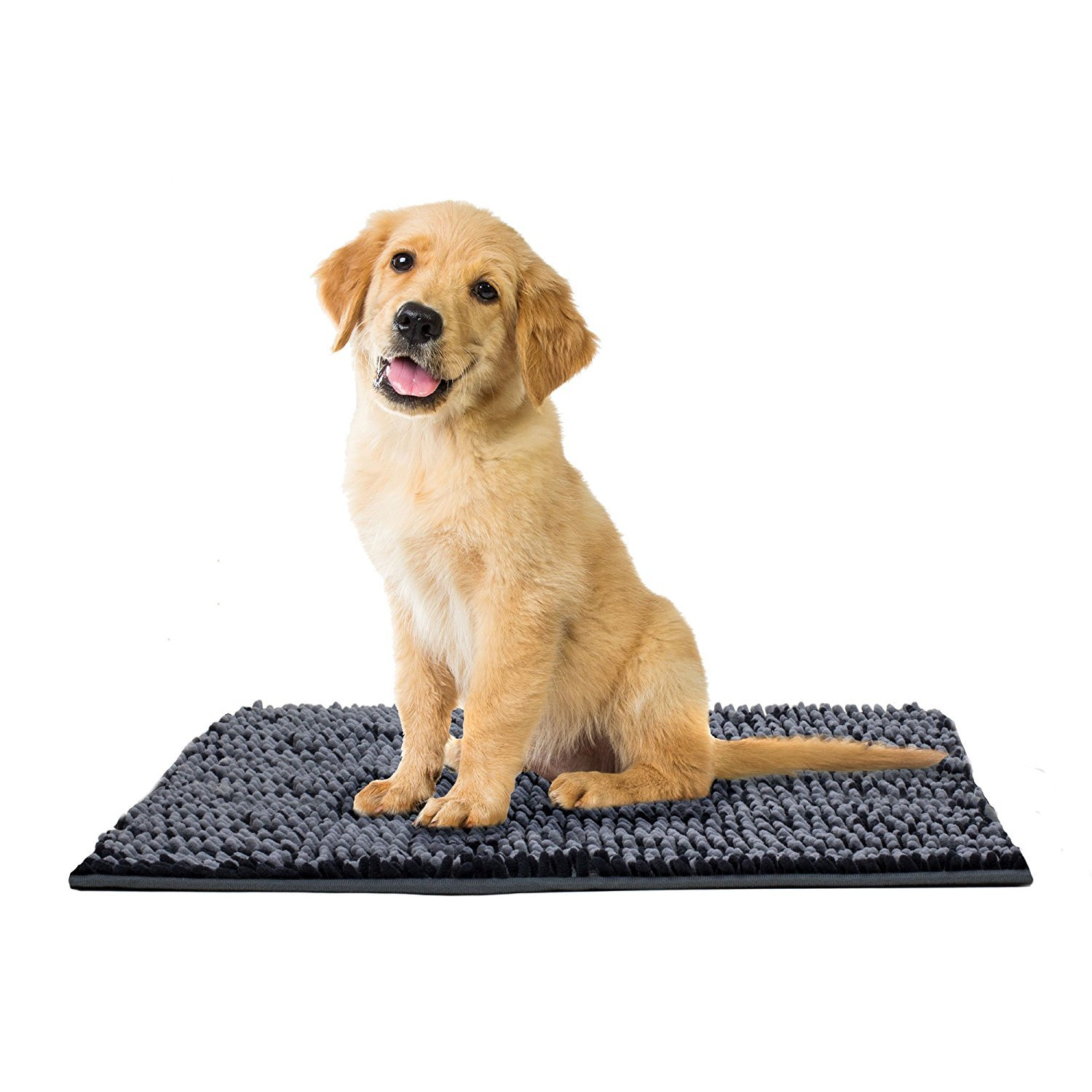 Dog Cat Pet Absorbent Microfiber Chenille Rug (24''x17'', Charcoal/Grey) by Pooch Pen (Image #4)