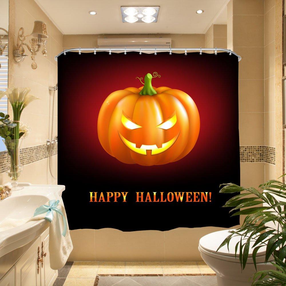 Harvest Pumpkins HY Qiyi Halloween Pumpkin Decor Polyester Fabric Shower Curtain Waterproof /& Antibacterial 72W x 72L