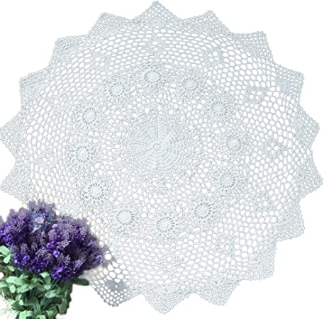 YIZUN Redondo Blanco algodón Crochet Encaje Mantel de servilleta ...