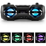auna Soundstorm M • Ghettoblaster • Boombox • Bluetooth 3.0 mit Reichweite bis zu 10 m • MP3-fähiger USB-Port / SD-Slot • PLL-UKW-Radiotuner • AUX-Eingang • LED-Effektbeleuchtung • zwei Stereo-Lautsprecher • Akku-Betrieb • Fernbedienung • tragbar • schwarz