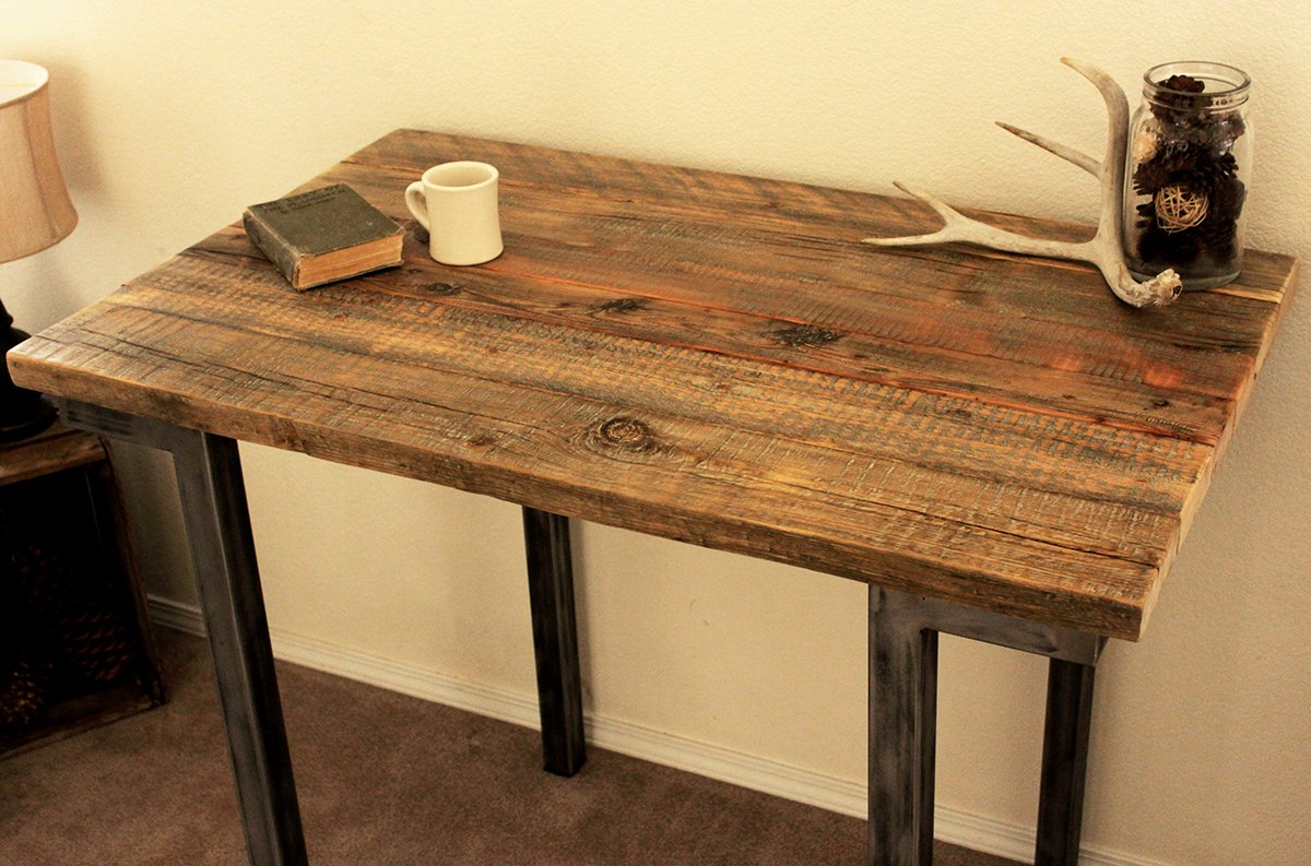 Wonderful Amazon.com: Reclaimed Wood Bar And Pub Table, Tall Cafe Table, Steel Legs:  Handmade