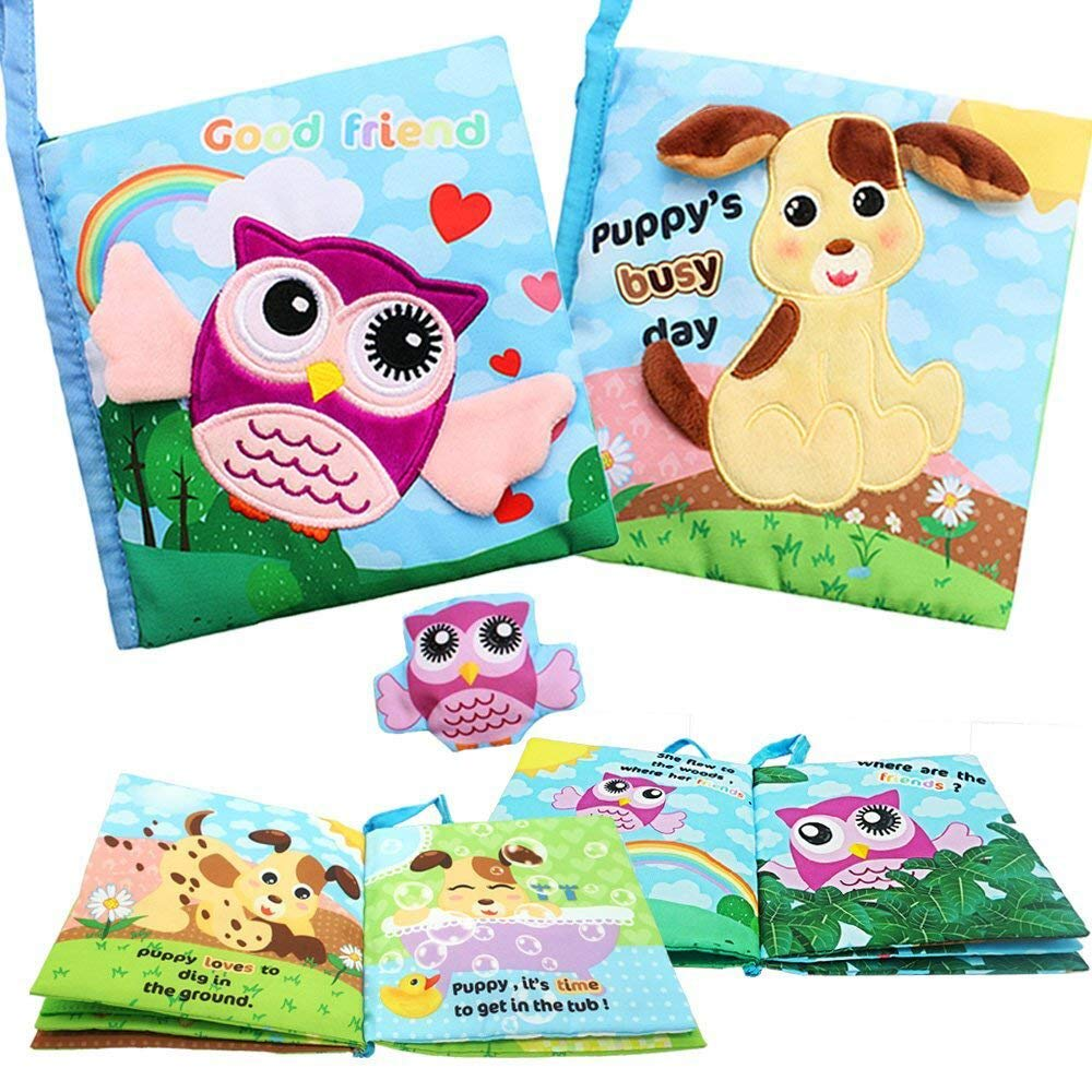 SPIEL Soft Activity Baby Books - Best Cloth Book Touch and Feel Crinkle Books for Toddler, Infants and Kids Early Education Toys for 1 2 3 Year Old Boys Girls, Interactive, Non-Toxic