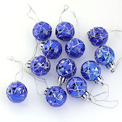 yoption 12pcs 28mm christmas ornaments plastic glitter shiny balls hanging xmas tree decoration ornament balls baubles - Navy Blue Christmas Decorations