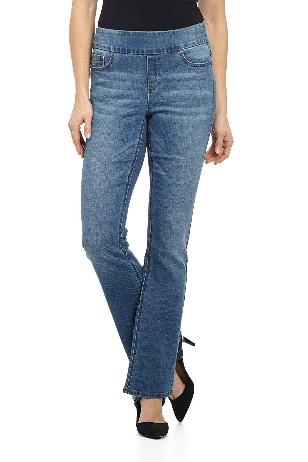 MD STONE SAND Rekucci Jeans Women's Ease in to Comfort Fit PullOn Stretch Bootcut Denim Pants