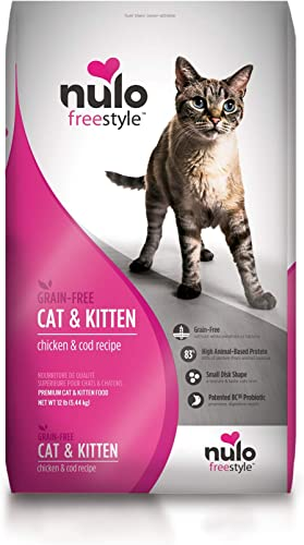Nulo Adult Kitten Grain Free Dry Cat Food with BC30 Probiotic, Chicken or Turkey Recipe – 5 or 12 lb Bag