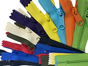 "ZipperStop Distributor YKK ZipperStop Wholesale Authorized Distributor YKK® Sale 14"" Handbag Zipper Assorted Season Colors YKK #4.5 with Extra-long Pull (10 Zippers /Pack), 14999, Assortments~ No Duplicate Colors~ Brites, Lights,dark,neons.hot Colors, 14"""