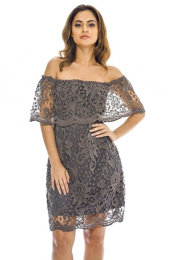 034ca0c11e AX Paris Women s Off Shoulder Lace Mini Dress at Amazon Women s Clothing  store