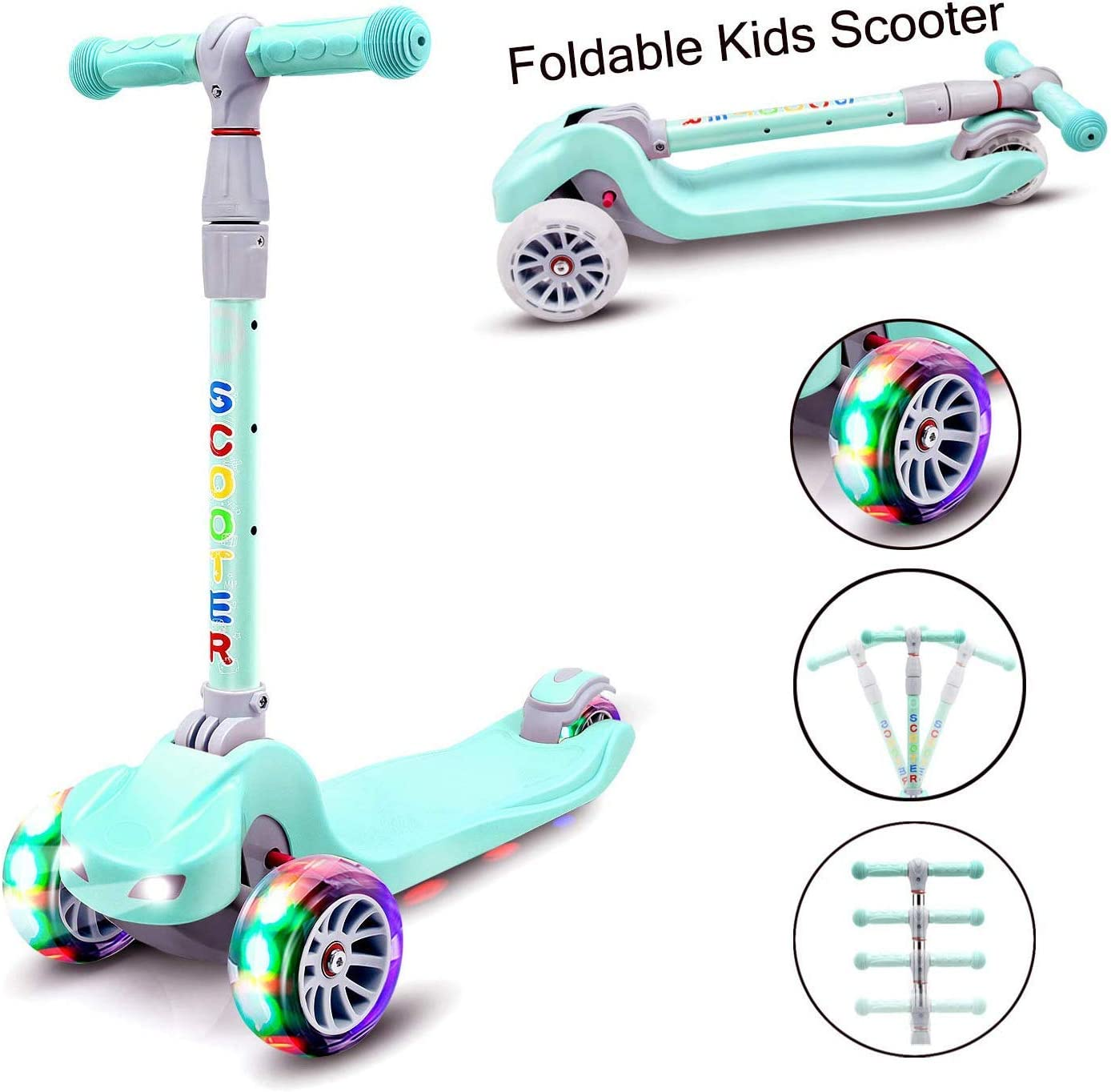 YX Scooter for Kids Toddlers Scooter 3 Wheel Scooter for Boys Girls 4 Adjustable Height Lean to Steer with PU Flashing Wheels Kids Foldable Scooter for Children from 3 to 12 Years Old