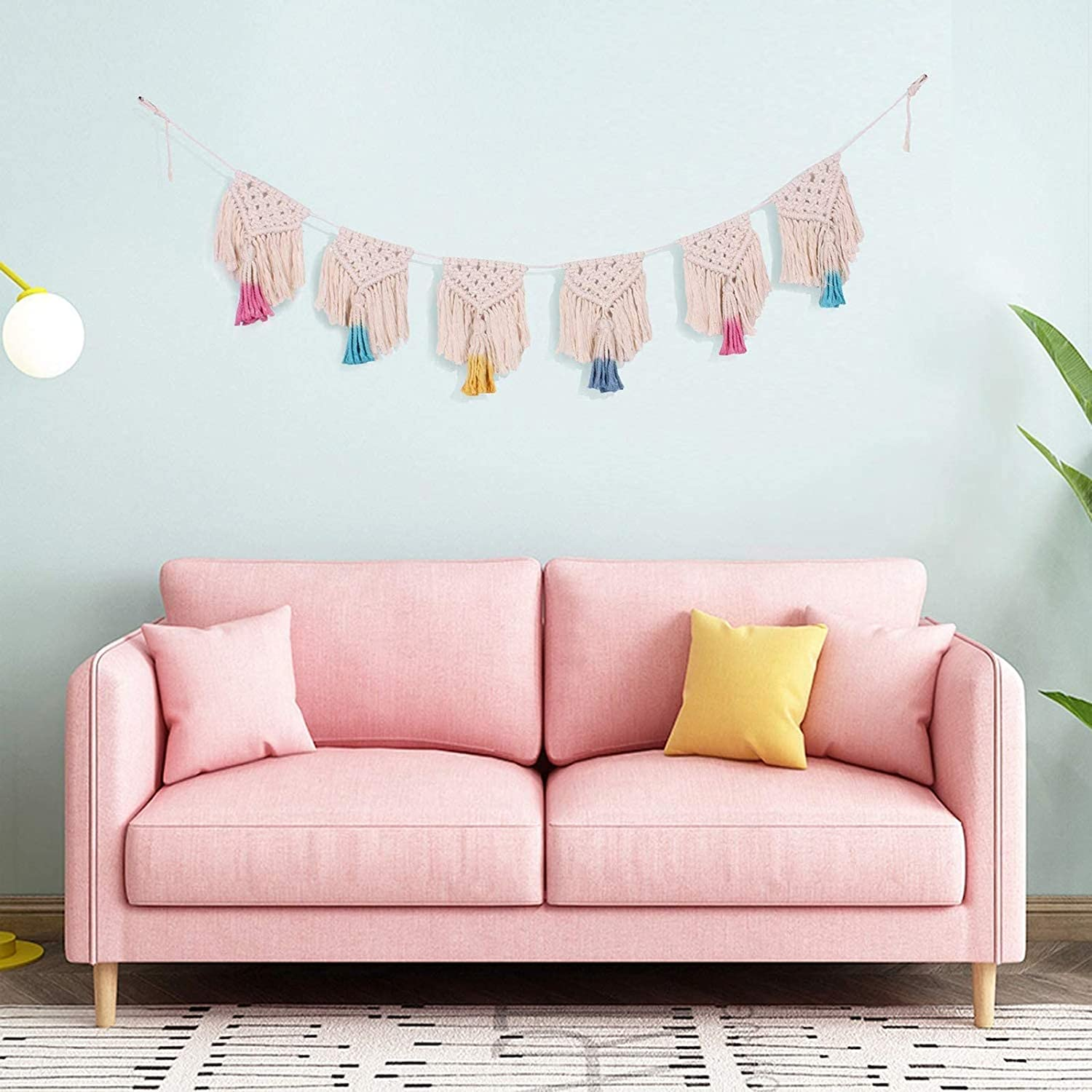 Heymax Boho Wall Decor Pastel Macrame Wall Hanging Banner Art Woven Wall Decor Woven Garlands Banner Bohemian Shabby Chic Home Decoration for Apartment Bedroom Living Room Nursery Girls Room Gallery