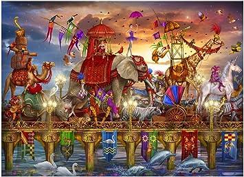 Puzzle Arte Colorido Rompecabezas 500-5000 Piezas for Adultos de los niños, desafiante Rompecabezas de Madera for Adultos Art Maravilloso Circo Show (Jirafa Loro Camel Elefante): Amazon.es: Juguetes y juegos