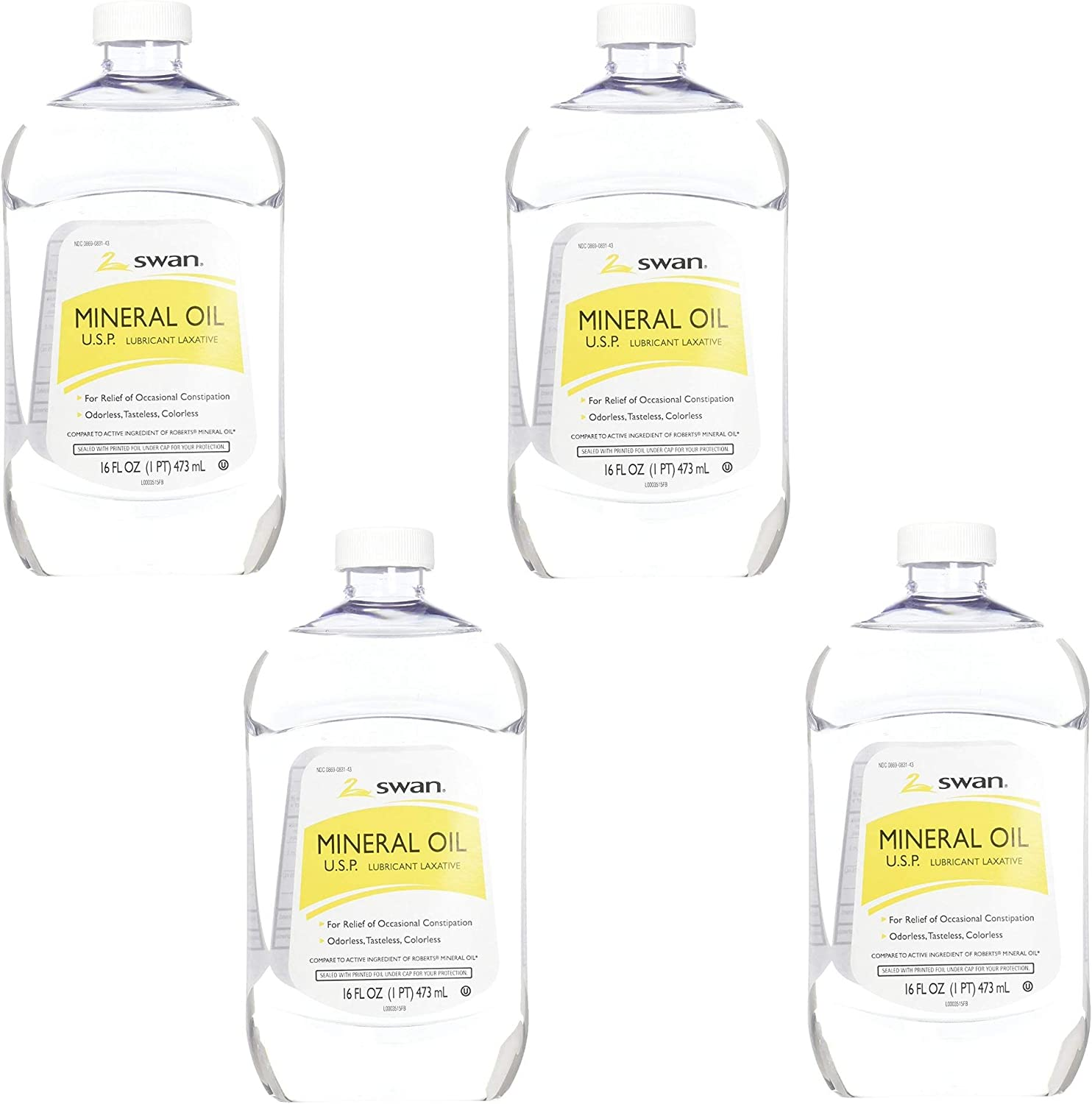 Swan Mineral Oil 16 oz, 4 Pack