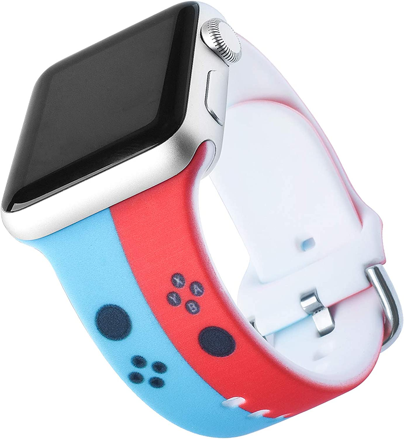 Cute Cartoon Character Switch Compatible with Apple Watch Band 38mm 40mm 42mm 44mm, Game Switch Strap with Soft Band Wristband for Kids Boys Girls Women Wen iWatch SE Series 6/5/4/3/2/1