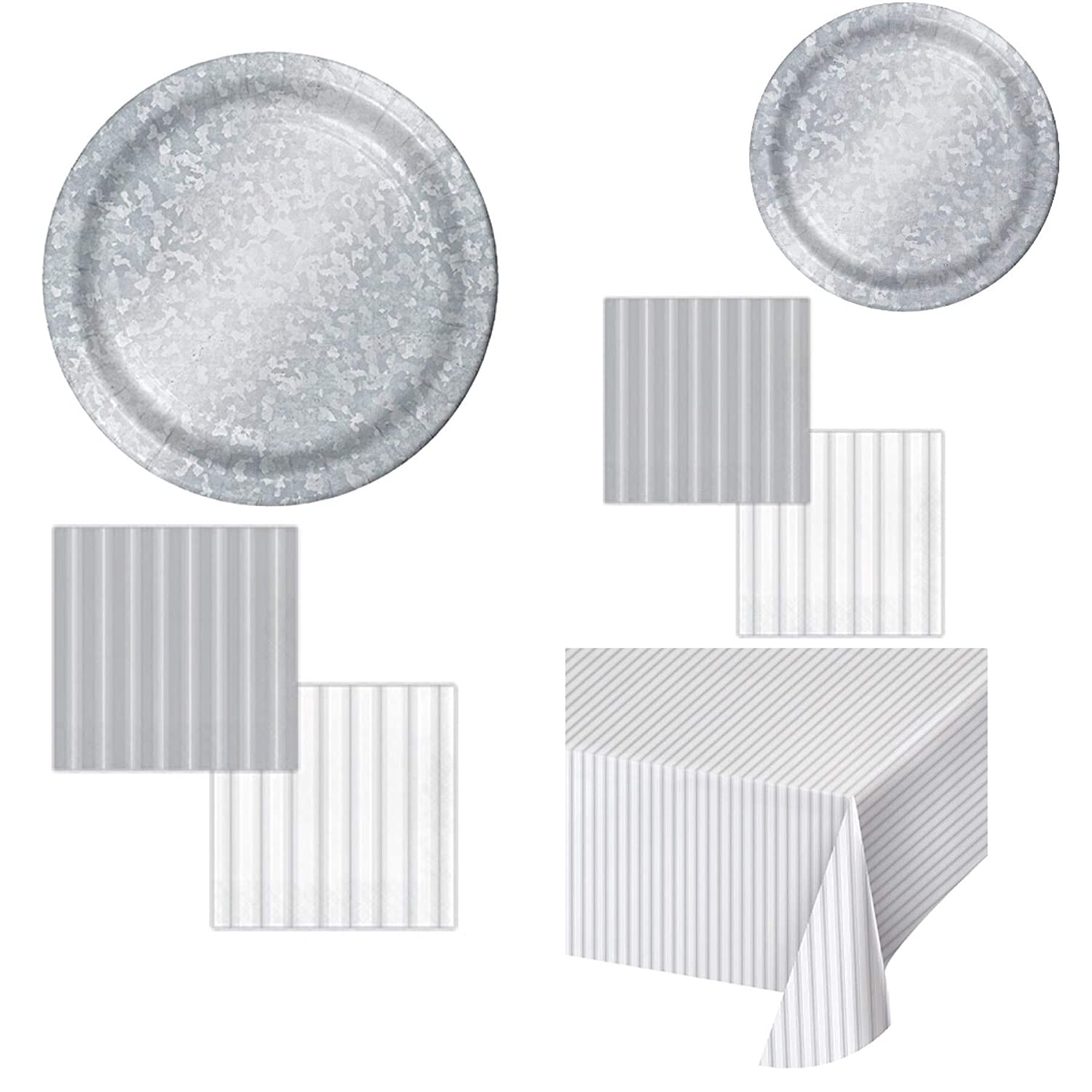 Dessert Plates Tablecover Beverage Napkins Guest Paper Towel Farmhouse Theme Galvanized Paper Party Supplies Serves 16: Dinner plates